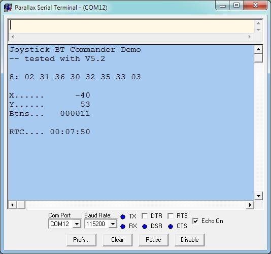 Android Control of Propeller using Joystick BT Commander App