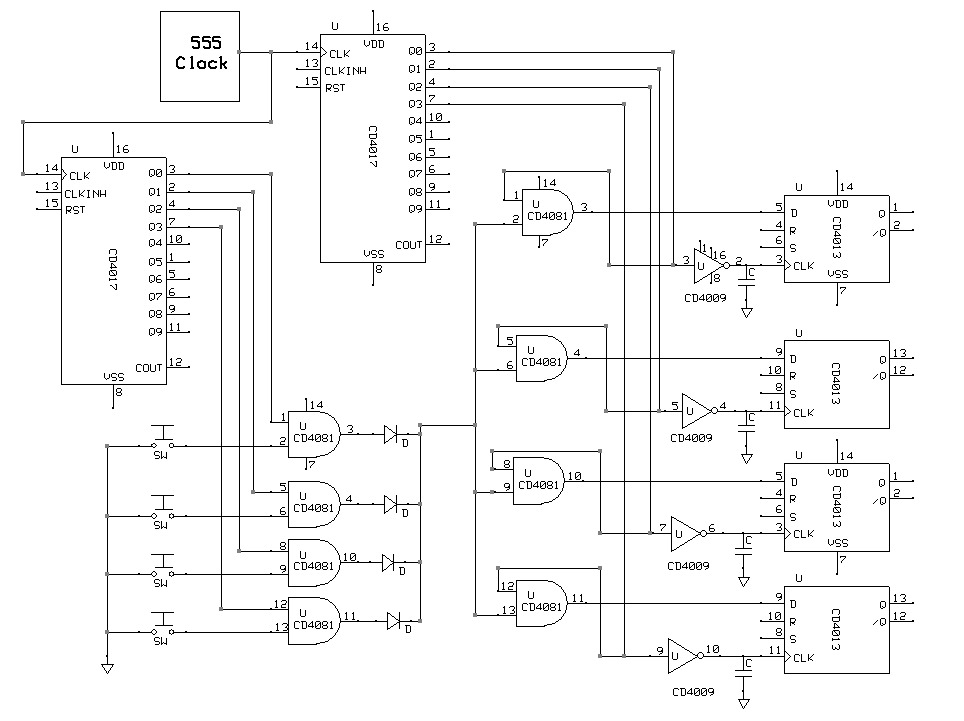 74hc165 to 74hc595 communication without microcontroller