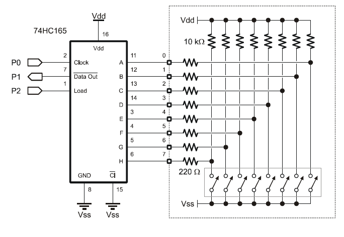74hc165 for pushbutton input expansion